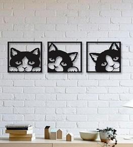 Quadro Gatos Em Mdf Vazado Trio