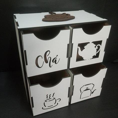 Caixa Porta Chá Em Mdf Branco C/ Gavetas