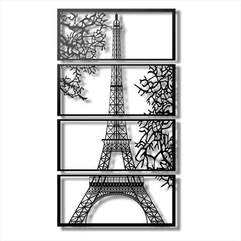 Conjunto de Quadro Torre Eiffel em MDF